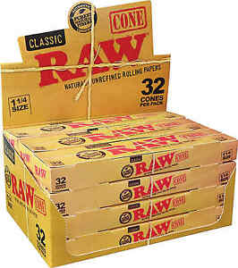 12 Packs of 32 Cones Ea. RAW Classic Paper Pre-Rolled Cones 1 14