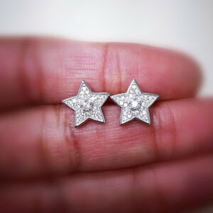0.20ct Round Cut Diamond Star Stud Earrings 14K Solid White Gold For Women's