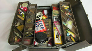 Vintage Tackle Box Loaded With Wood & Plastic Lures Fly Reel & Misc. Fishing