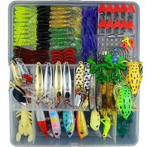 204Pcs Fishing Lures Lot With Tackle Box Hard Soft Plastic Freshwater Saltwater