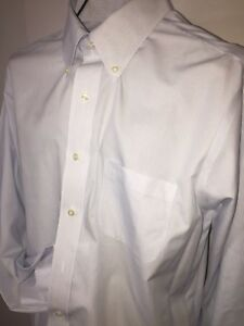 Brooks Brothers Dress Shirt Button Down White Dry Clean Blue 17 34 Classic Fit