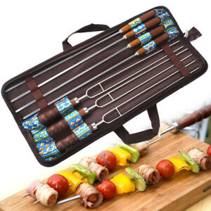 Stainless Steel Barbecue Skewers Outdoor Portable Needle Sticks Fork Set 7pcs