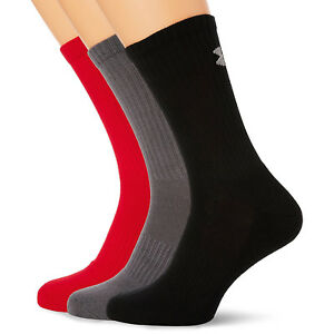 UNDER ARMOUR NEW Mens Charged Cotton 2.0 Crew Socks Red BNWT