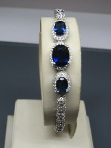 Turkish Handmade Jewelry 925 Sterling Silver Sapphire Stone Ladies' Bracelet