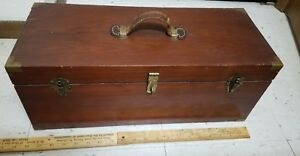 Old Wooden Tackle Box DUC - EM TACKLE BOX HOUSTON TEXAS