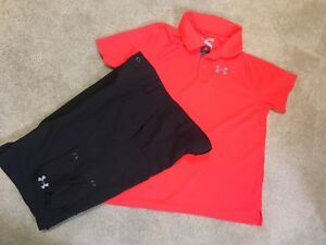 Boys Under Armour Black Cargo Shorts & Orange Golf Polo Shirt Outfit Youth XL