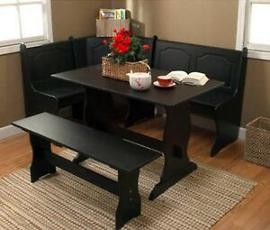 Corner Nook Dining Set Breakfast Bench Kitchen Booth Dinette Table Black Storage