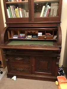 Antique Roll Top Secretariet With Married Hutch
