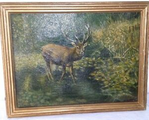 Antique Signed Oil Canvas Deer Stag Buck Woods Pong Water Lilies Reframed $325.00