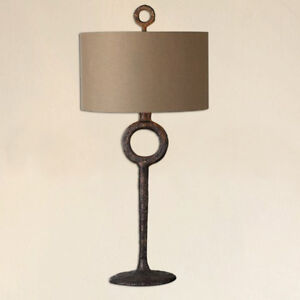 Tuscan Rustic Old World Table Lamp wCast Iron Base