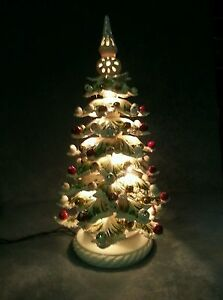 Porcelain Capodimonte. Christmas tree luminous created and hand-decorated