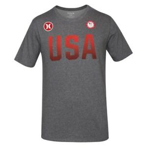 Hurley Men's Nike Dri-Fit USA Olympic Team 4th of July Grey Red Shirt MTS0022020