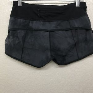 Lululemon size 4 Black Gray Speed Shorts Solid Lined Women's Run Zipper Pocket
