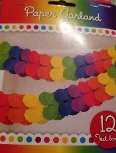 Rainbow Paper Garland 12#x27; Decoration Party Supplies 12 feet long lot of 2