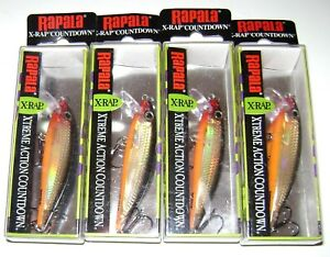 4 RAPALA XRCD-7 X-RAP COUNTDOWN LURES GOLD COLOR XRCD7
