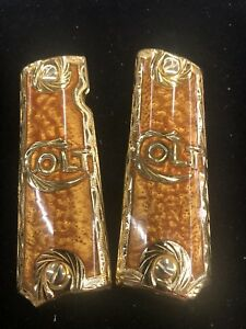 1911 Colt Cachas 14k Gold Plated German Silver Grips 4538 super Colt Hand Made.