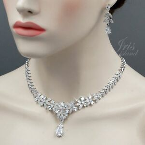 White Gold Plated Clear Cubic Zirconia Necklace Earrings Wedding Jewelry Set 848
