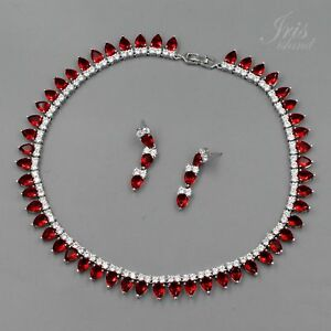 White Gold Plated Ruby Cubic Zirconia Necklace Earrings Wedding Jewelry Set 2724