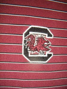MEN'S UNDER ARMOUR CLEMSON UNIVERSITY POLO CASUAL STRIPED SHIRT LG L GAMECOCKS