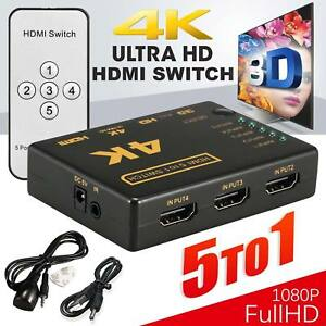 HDMI 5Port Switch Splitter Hub with Remote 4K 3D 1080p for PS3 PS4 Xbox One HDTV