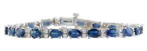12.80 Carat Natural Sapphire 18K Solid White Gold Diamond Bracelet