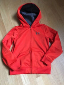 Under Armour Boys Hoodie Full Zip Sweatshirt Loose Orange Size YSM Small 78