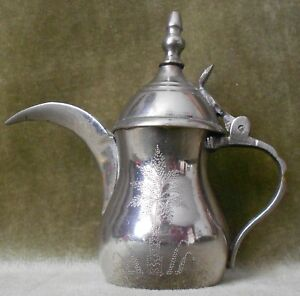SMALL ANTIQUES ARABIC TURKISH SILVER PLATED COFFEE POT