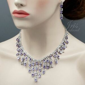 White Gold Plated Purple Cubic Zirconia Necklace Earrings Wedding Jewelry Set 56