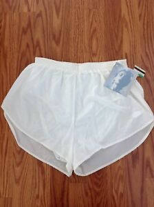 New VINTAGE 80's 90's white embroidered Nike running lined shorts high waist L