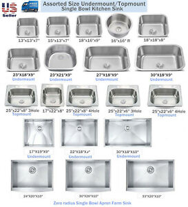 New Topmount  Undermount Stainless Steel Single Bowl Kitchen Sink Assorted Size