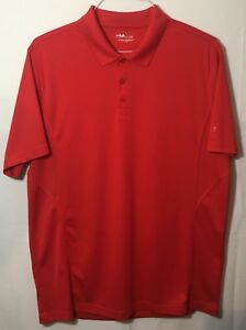 Mens FILA SPORT Performance Golf Polo Shirt  L Large Red 100% Polyester