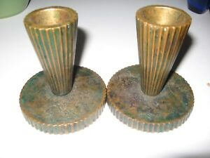 Antique TINOS Bronce Bronze Metal Denmark Candlestick Holders