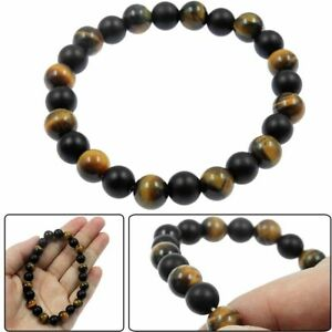 Men's Matt Black Onyx and Tigers Eye Gemstone Beaded Stretch Bracelet Jewelry