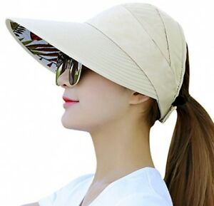HindaWi Sun Hats For Women Wide Brim UV Protection Summer Beach Visor Cap Beige