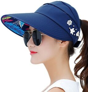 HindaWi Sun Hats For Women Sun Hat Wide Brim UV Protection Summer Beach Visor