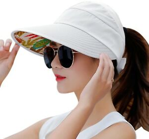 HindaWi Sun Hat Wide Brim Straw Hat Visor Sun Hats For Women Packable UV Floppy