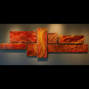 Large Modern Metal Orange Red Painting Wall Sculpture Contemporary Art Decor