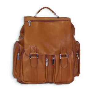 Tan Leather Back Pack w Laptop Sleeve