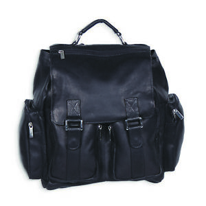 Black Leather Back Pack w Laptop Sleeve