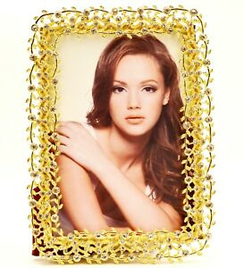 The Vine Picture Frame. Hand Made with Clear Swarovski Crystal & Gold Plating