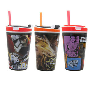 Stylish Snackeez 8 Ounce Drink Cup Star Wars Jr Sippy Drinking Non-slip Grip Cup