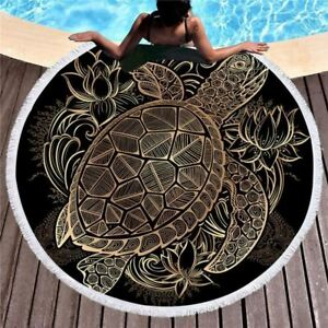 Turtles Bohemian Tassel Tapestry Luxury Black 150cm Round Beach Tow