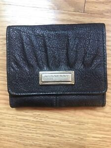 Authentic Burberry Black Leather Trifold Wallet Women