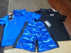 Boys Under Armour lot of 3 collared shirts and shorts size YXS5(NWT)