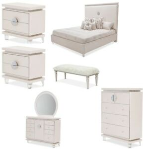 AICO Furniture - Glimmering Heights 7 Piece Eastern King Upholstered Bedroom Set