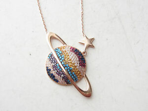 TURKISH ROSE GOLD PLATED 925 STERLING SILVER TURQUOISE TOPAZ WORLD STAR NECKLACE