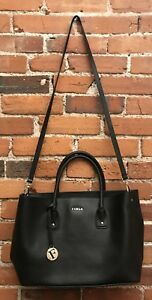 Furla Medium Leather Satchel Bag Crossbody Strap Onyx Black Excellent