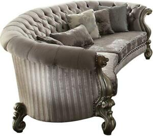 Acme Versailles Sofa with 5 Pillows in Velvet and Antique Platinum Finish 56845