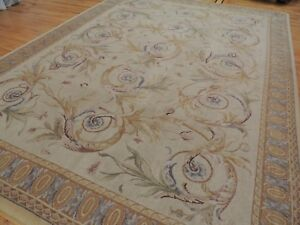 French 9x12 Savonnerie Aubusson Design Oriental Rug Beige Gold BlueGray