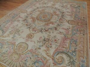 French 9x12 Savonnerie Aubusson Design Oriental Rug Beige Gold Blue